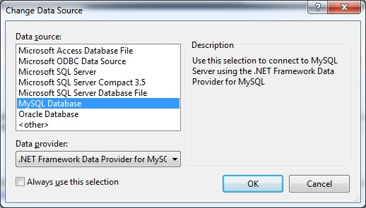 Change the data source to MySQL Database.